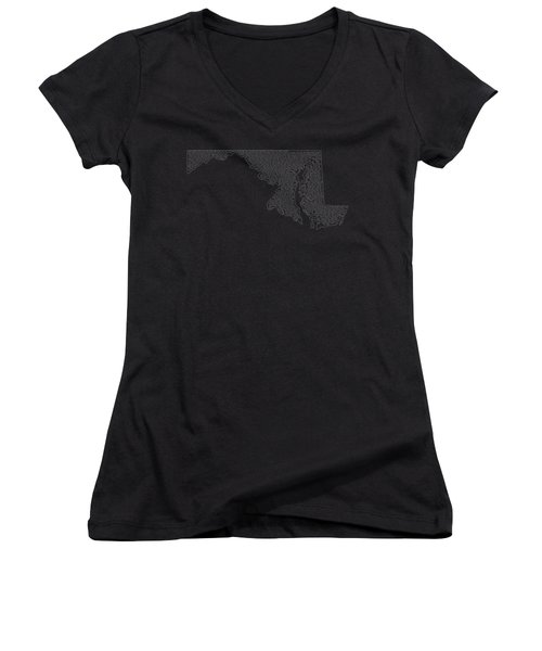 Cities And Towns In Maryland White Women's V-Neck T-Shirt (Junior Cut) by Custom Home Fashions