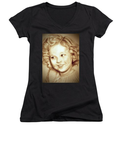 Classic Shirley Temple Women's V-Neck T-Shirt (Junior Cut) by Fred Larucci