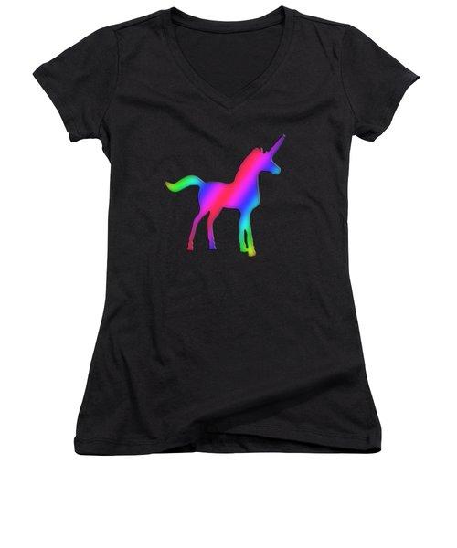 Colourful Unicorn  Women's V-Neck T-Shirt (Junior Cut) by Ilan Rosen