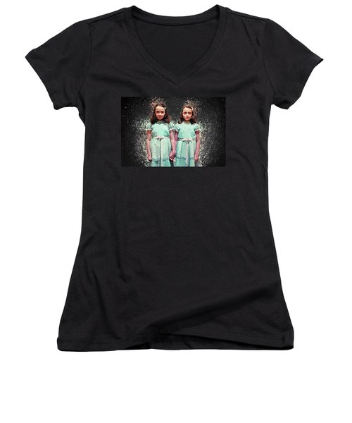 Come Play With Us - The Shining Twins Women's V-Neck T-Shirt (Junior Cut) by Taylan Apukovska