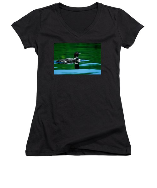 Common Loon In Water, Michigan, Usa Women's V-Neck T-Shirt (Junior Cut) by Panoramic Images