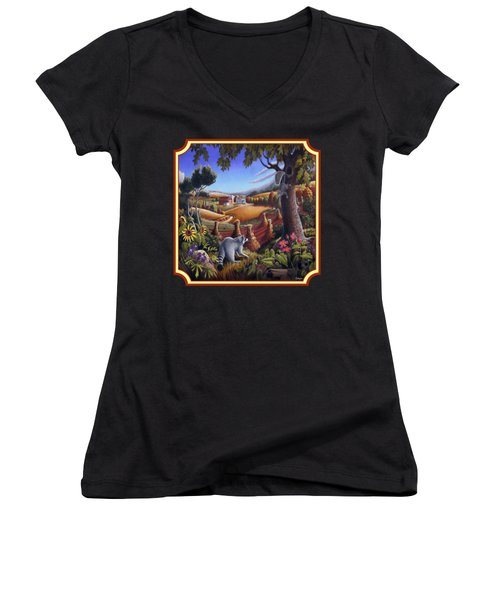 Coon Gap Holler Country Landscape - Square Format Women's V-Neck T-Shirt (Junior Cut) by Walt Curlee