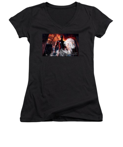 Daredevil Collection Women's V-Neck T-Shirt (Junior Cut) by Marvin Blaine