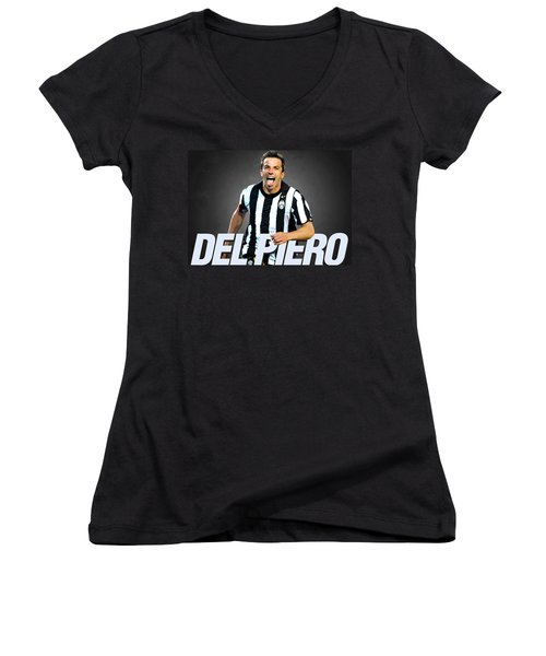 Del Piero Women's V-Neck T-Shirt (Junior Cut) by Semih Yurdabak