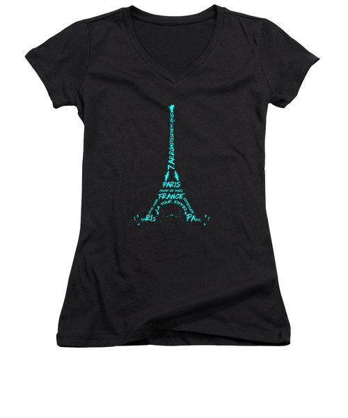 Digital-art Eiffel Tower Cyan Women's V-Neck T-Shirt (Junior Cut) by Melanie Viola