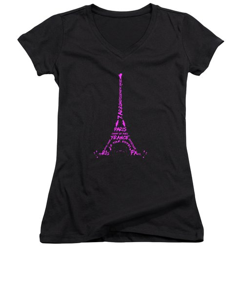 Digital-art Eiffel Tower Pink Women's V-Neck T-Shirt (Junior Cut) by Melanie Viola