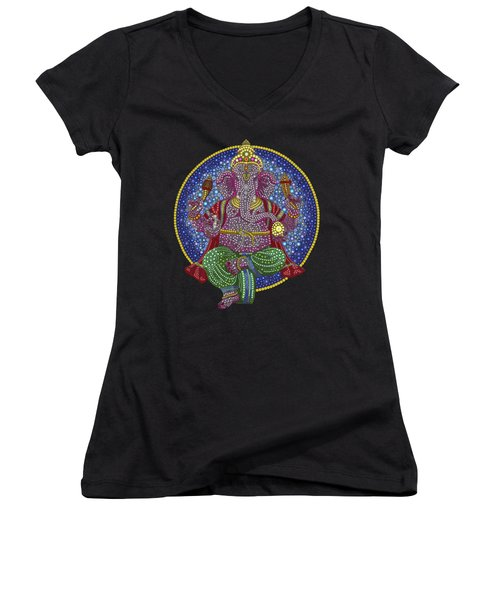 Digital Ganesha Women's V-Neck T-Shirt (Junior Cut) by Tim Gainey