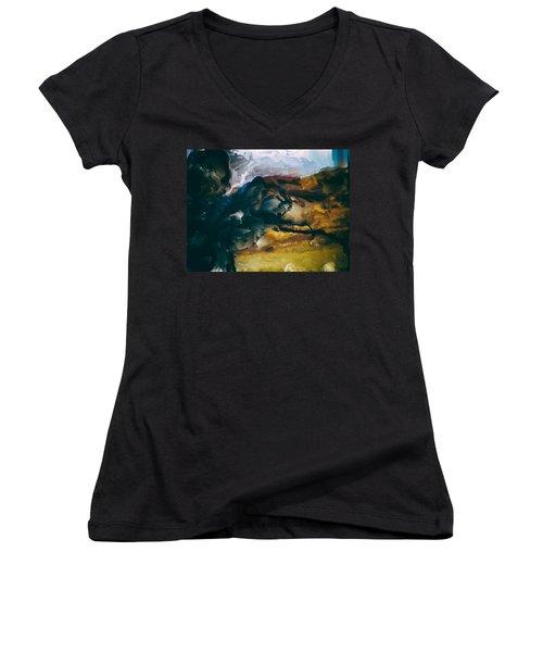 Donald Rumsfeld Gwot Vision Women's V-Neck T-Shirt (Junior Cut) by Brian Reaves