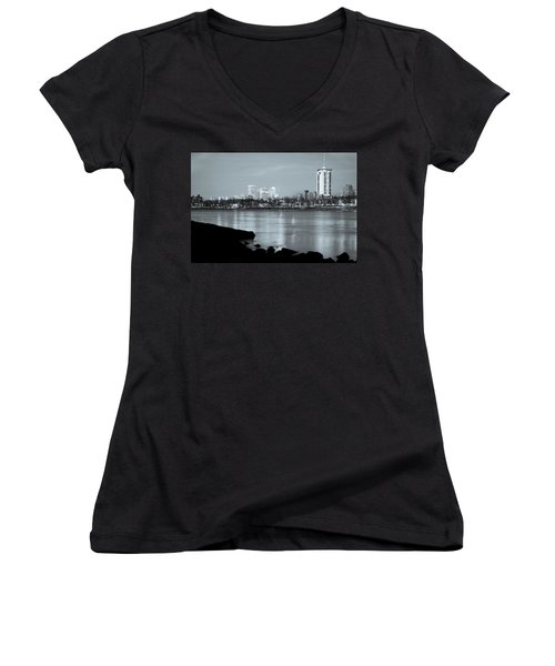 Downtown Tulsa Oklahoma - University Tower View - Black And White Women's V-Neck T-Shirt (Junior Cut) by Gregory Ballos