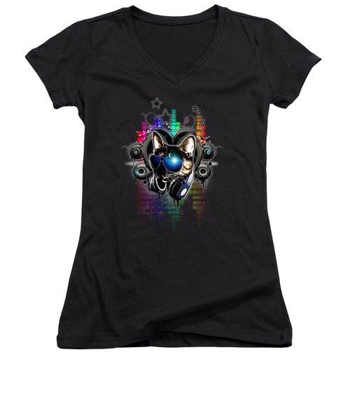 Drop The Bass Women's V-Neck T-Shirt (Junior Cut) by Nicklas Gustafsson