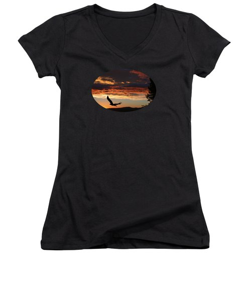 Eagle At Sunset Women's V-Neck T-Shirt (Junior Cut) by Shane Bechler