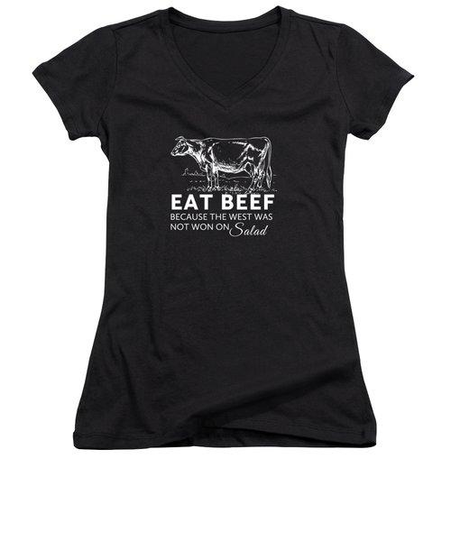 Eat Beef Women's V-Neck T-Shirt (Junior Cut) by Nancy Ingersoll