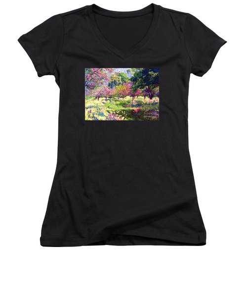 Echoes From Heaven, Spring Orchard Blossom And Pheasant Women's V-Neck T-Shirt (Junior Cut) by Jane Small