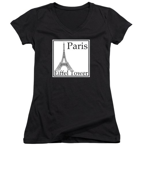 Eiffel Tower In White Women's V-Neck T-Shirt (Junior Cut) by Custom Home Fashions