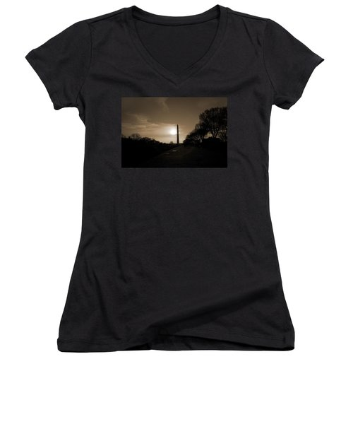 Evening Washington Monument Silhouette Women's V-Neck T-Shirt (Junior Cut) by Betsy Knapp