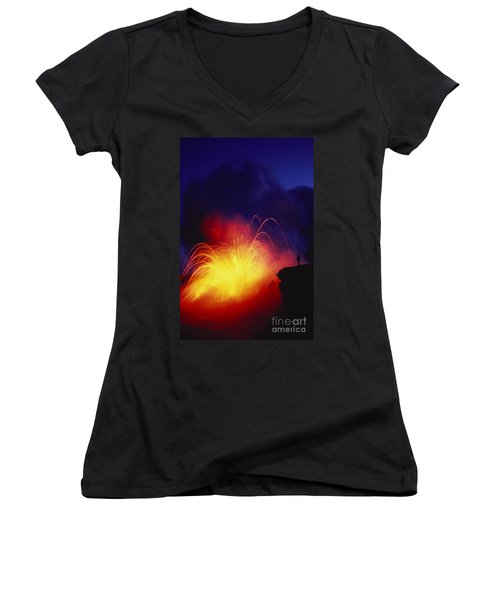 Exploding Lava And Person Women's V-Neck T-Shirt (Junior Cut) by Greg Vaughn - Printscapes