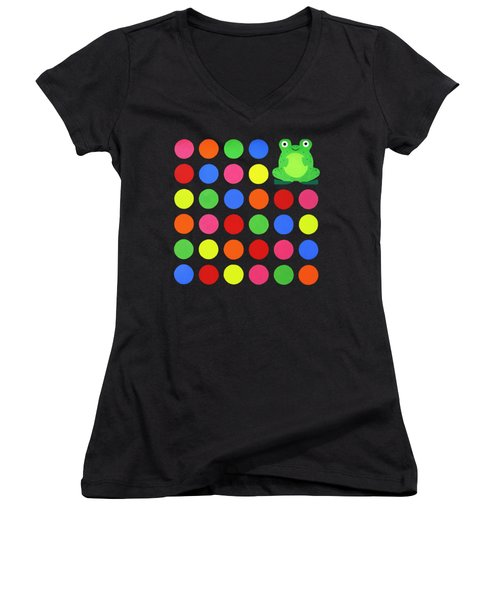 Discofrog Remix Women's V-Neck T-Shirt (Junior Cut) by Oliver Johnston