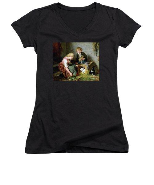 Feeding The Rabbits Women's V-Neck T-Shirt (Junior Cut) by Felix Schlesinger
