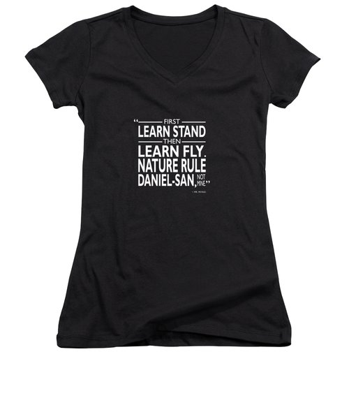 First Learn Stand Women's V-Neck T-Shirt (Junior Cut) by Mark Rogan