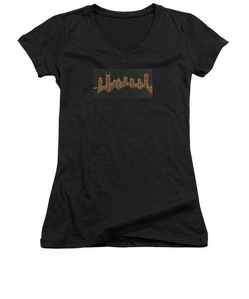 Floating Nashville Skyline Bl Women's V-Neck T-Shirt (Junior Cut) by Helen Prater