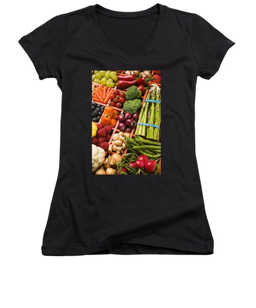 Food Compartments  Women's V-Neck T-Shirt (Junior Cut) by Garry Gay