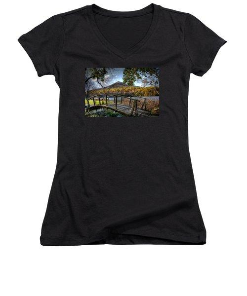 Foot Bridge Women's V-Neck T-Shirt (Junior Cut) by Todd Hostetter