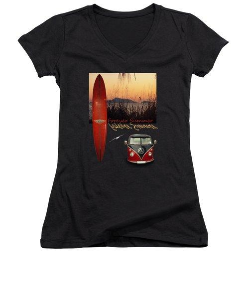 Forever Summer 1 Women's V-Neck T-Shirt (Junior Cut) by Linda Lees