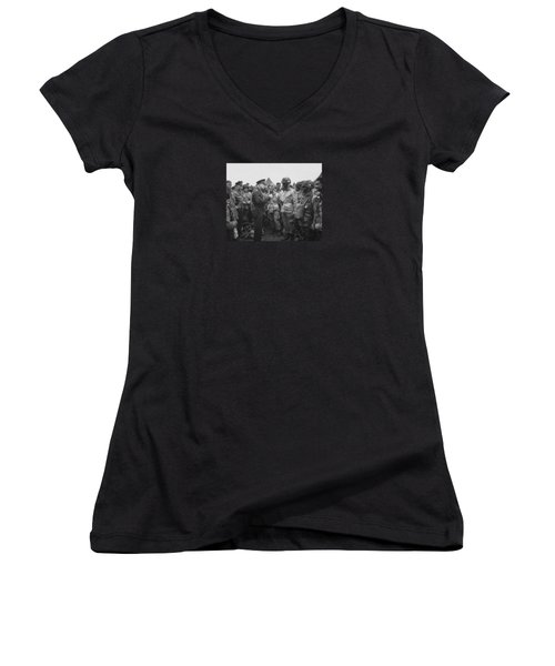 General Eisenhower On D-day  Women's V-Neck T-Shirt (Junior Cut) by War Is Hell Store