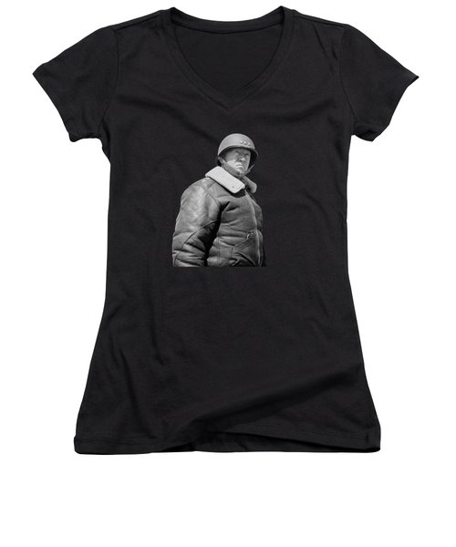General George S. Patton Women's V-Neck T-Shirt (Junior Cut) by War Is Hell Store
