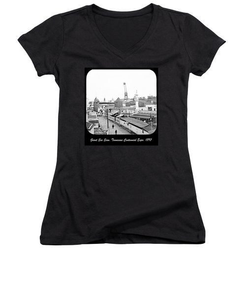 Women's V-Neck T-Shirt (Junior Cut) featuring the photograph Giant See Saw Tennessee Centennial Exposition 1897 by A Gurmankin