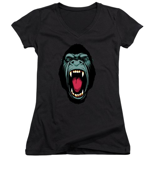 Gorilla Face Women's V-Neck T-Shirt (Junior Cut) by John D'Amelio
