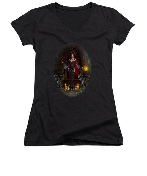Gothic Queen Women's V-Neck T-Shirt (Junior Cut) by Ali Oppy