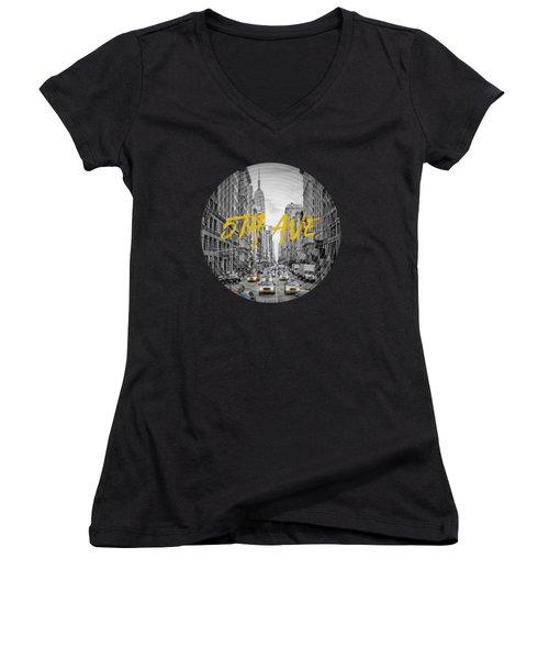 Graphic Art Nyc 5th Avenue Yellow Cabs Women's V-Neck T-Shirt (Junior Cut) by Melanie Viola