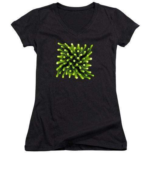 Green Sea Anemone Women's V-Neck T-Shirt (Junior Cut) by Anastasiya Malakhova