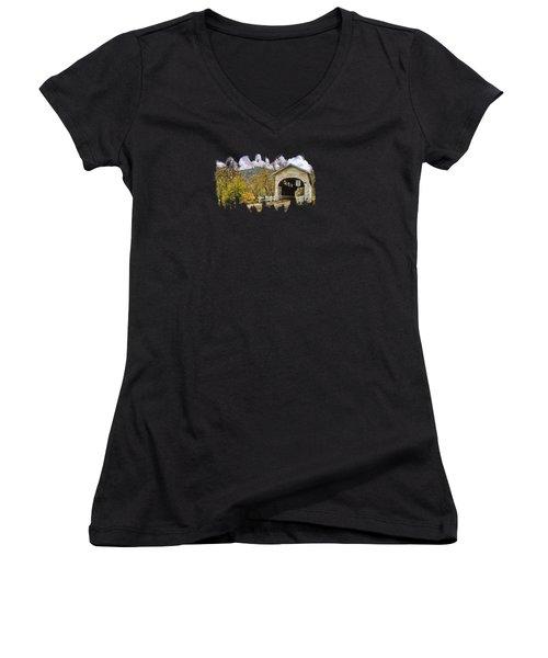 Harris Covered Bridge Women's V-Neck T-Shirt (Junior Cut) by Thom Zehrfeld