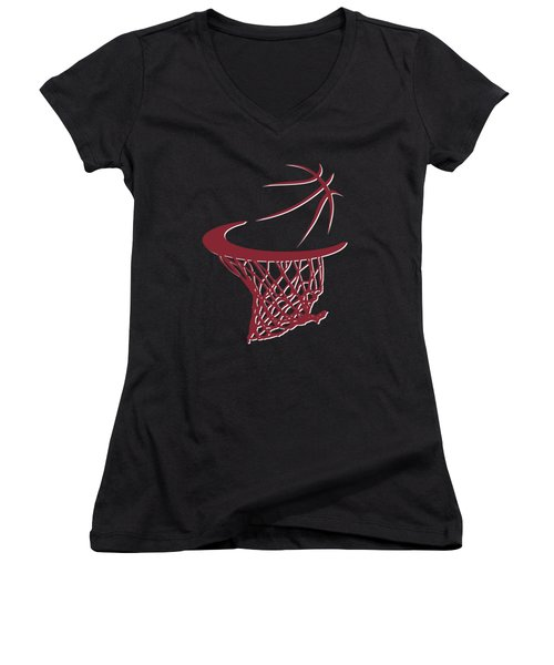 Heat Basketball Hoop Women's V-Neck T-Shirt (Junior Cut) by Joe Hamilton