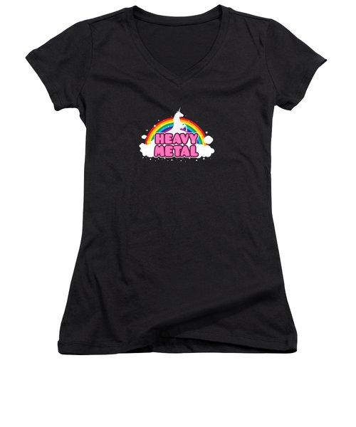 Heavy Metal Funny Unicorn  Rainbow Mosh Parody Design Women's V-Neck T-Shirt (Junior Cut) by Philipp Rietz