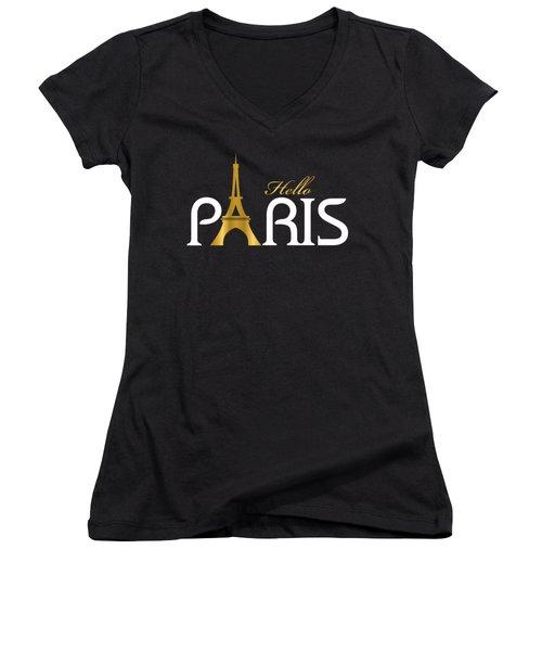 Hello Paris Women's V-Neck T-Shirt (Junior Cut) by Carlos Simon