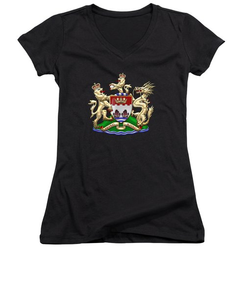 Hong Kong - 1959-1997 Coat Of Arms Over Black Leather  Women's V-Neck T-Shirt (Junior Cut) by Serge Averbukh