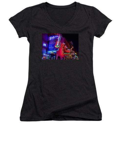 Honky Tonk Broadway Women's V-Neck T-Shirt (Junior Cut) by Stephen Stookey