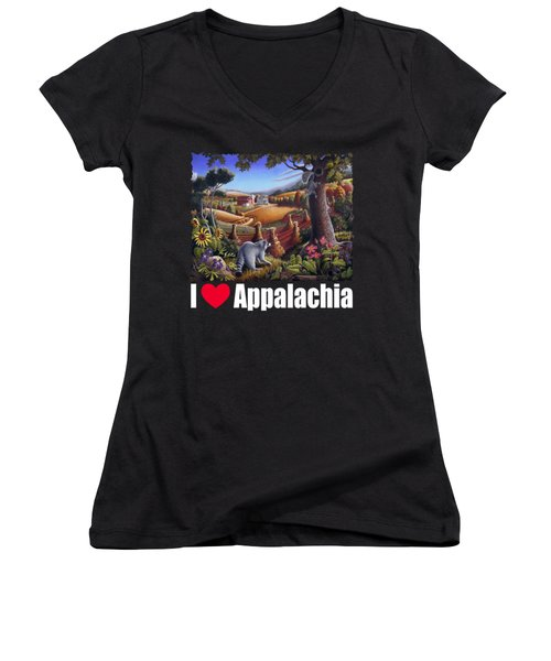I Love Appalachia T Shirt - Coon Gap Holler 2 - Country Farm Landscape Women's V-Neck T-Shirt (Junior Cut) by Walt Curlee