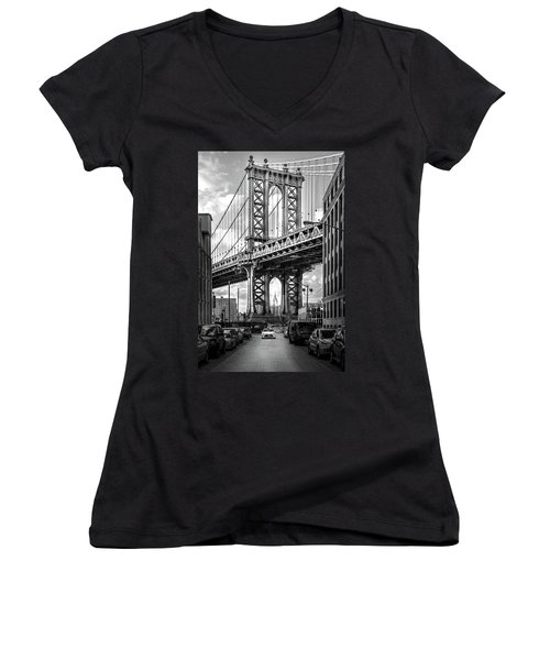 Iconic Manhattan Bw Women's V-Neck T-Shirt (Junior Cut) by Az Jackson