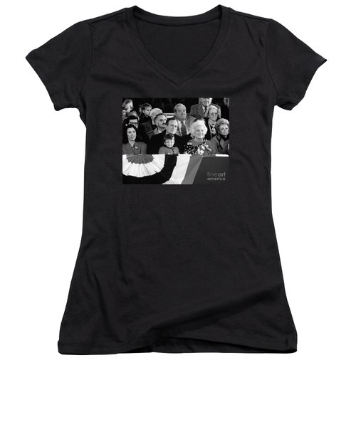 Inauguration Of George Bush Sr Women's V-Neck T-Shirt (Junior Cut) by H. Armstrong Roberts/ClassicStock