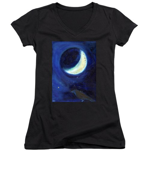July Moon Women's V-Neck T-Shirt (Junior Cut) by Nancy Moniz