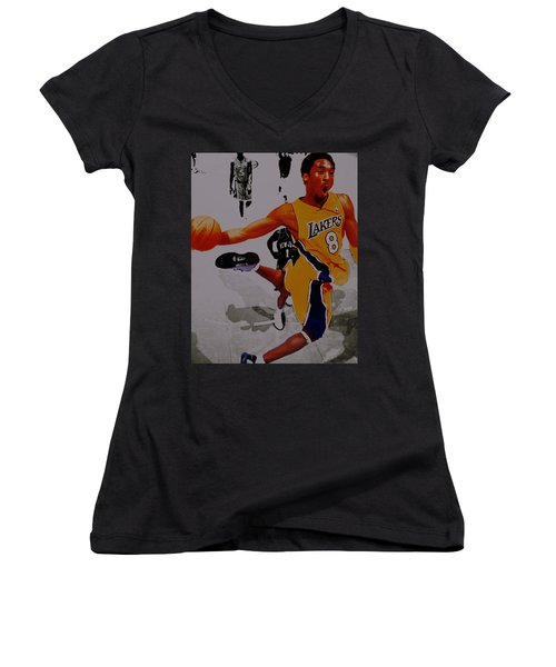 Kobe Bryant Taking Flight 3a Women's V-Neck T-Shirt (Junior Cut) by Brian Reaves