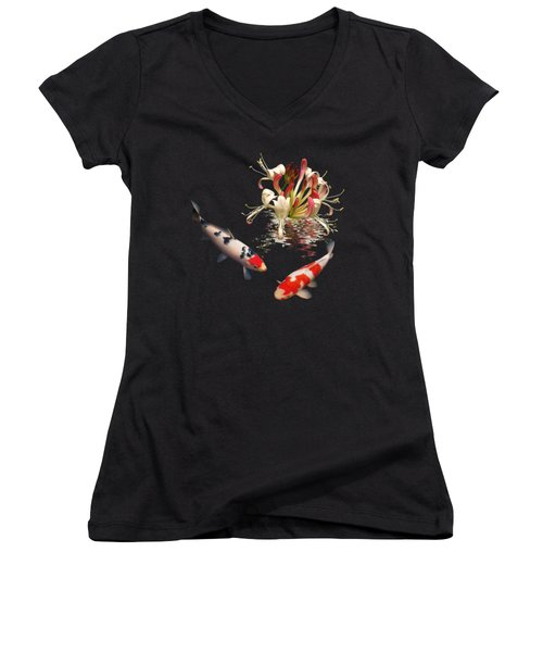 Koi With Honeysuckle Reflections Square Women's V-Neck T-Shirt (Junior Cut) by Gill Billington