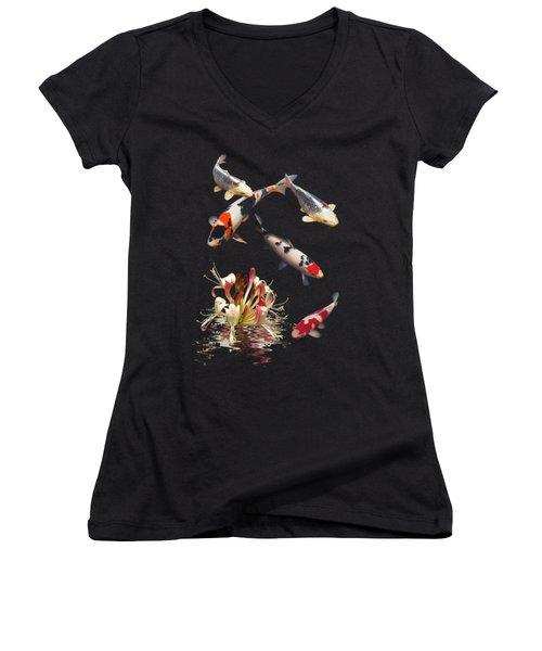 Koi With Honeysuckle Reflections Vertical Women's V-Neck T-Shirt (Junior Cut) by Gill Billington
