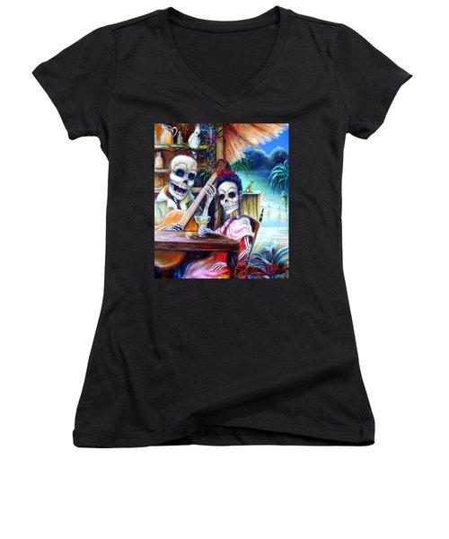 La Borracha Women's V-Neck T-Shirt (Junior Cut) by Heather Calderon