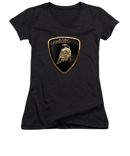 Lamborghini - 3d Badge On Black Women's V-Neck T-Shirt (Junior Cut) by Serge Averbukh