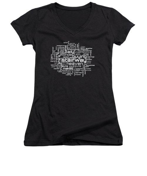 Led Zeppelin - Stairway To Heaven Lyrical Cloud Women's V-Neck T-Shirt (Junior Cut) by Susan Maxwell Schmidt